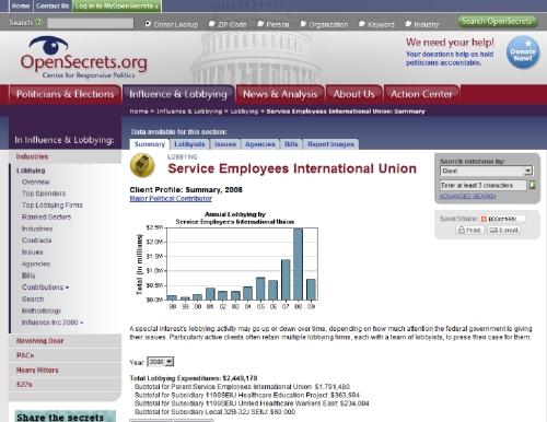 seiu 2008 lobbying activities